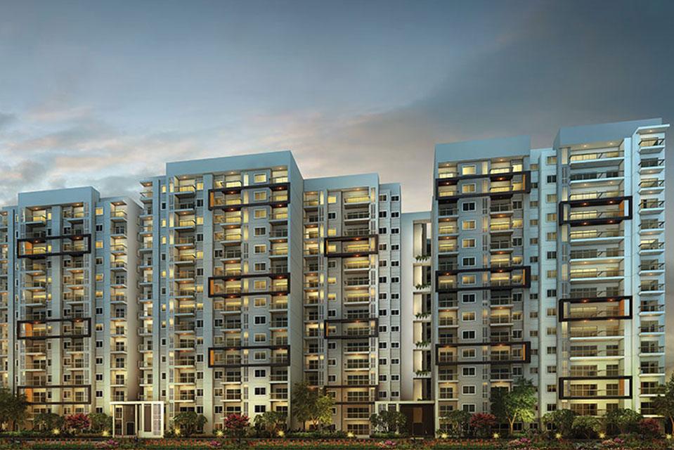 Elevation View of Raintree Boulevard in Hebbal, Bengaluru
