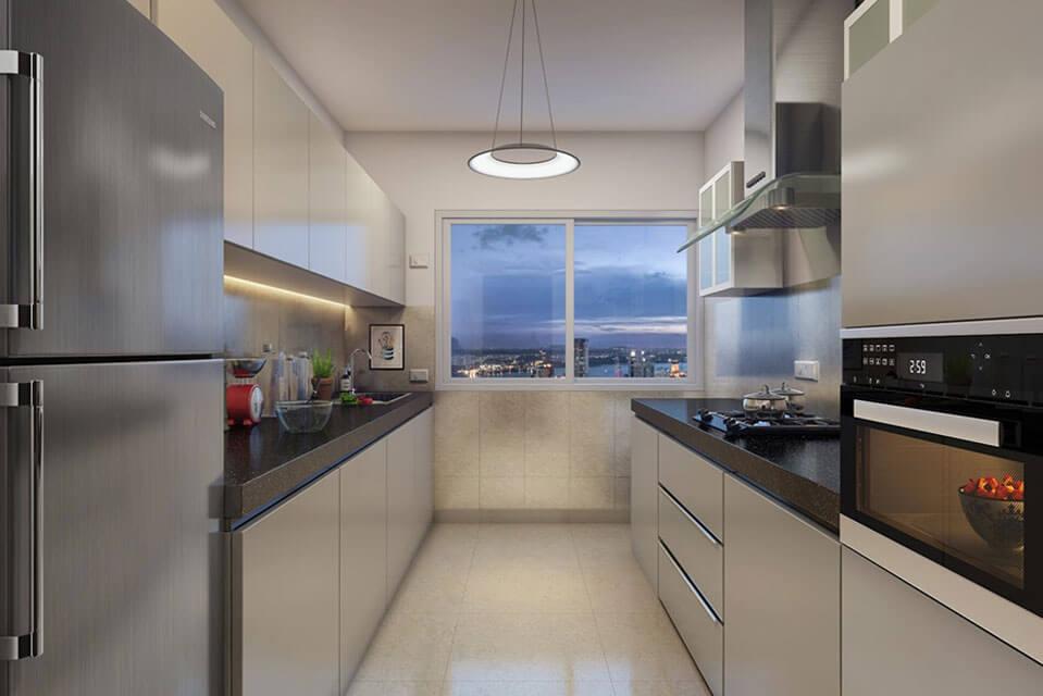 Kitchen View of 3 BHK Flat - Emerald Isle Amenities