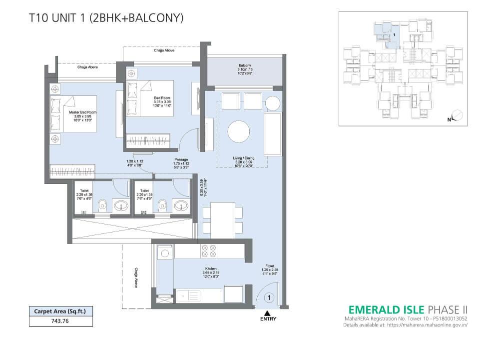 T10 Unit 1 (2BHK+Balcony) - Emerald Isle