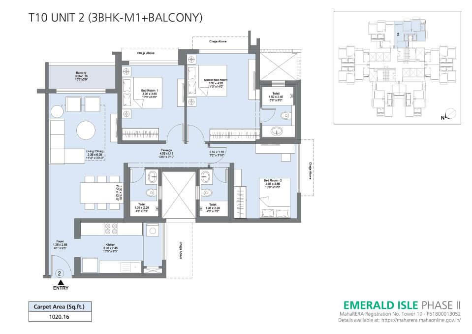 T10 Unit 2 (3BHK-M1+Balcony) - Emerald Isle