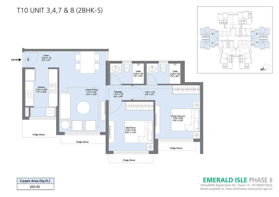 T10 Unit 3,4,7 & 8 (2BHK-S) - Emerald Isle