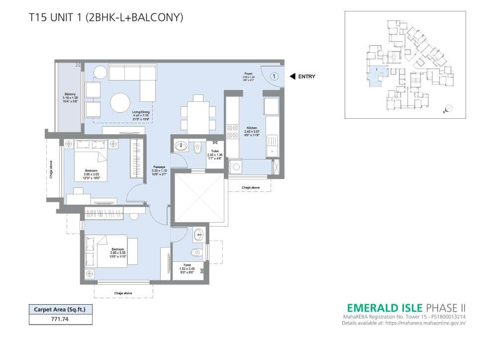 T15 Unit 1 (2BHK-L+Balcony) - Emerald Isle