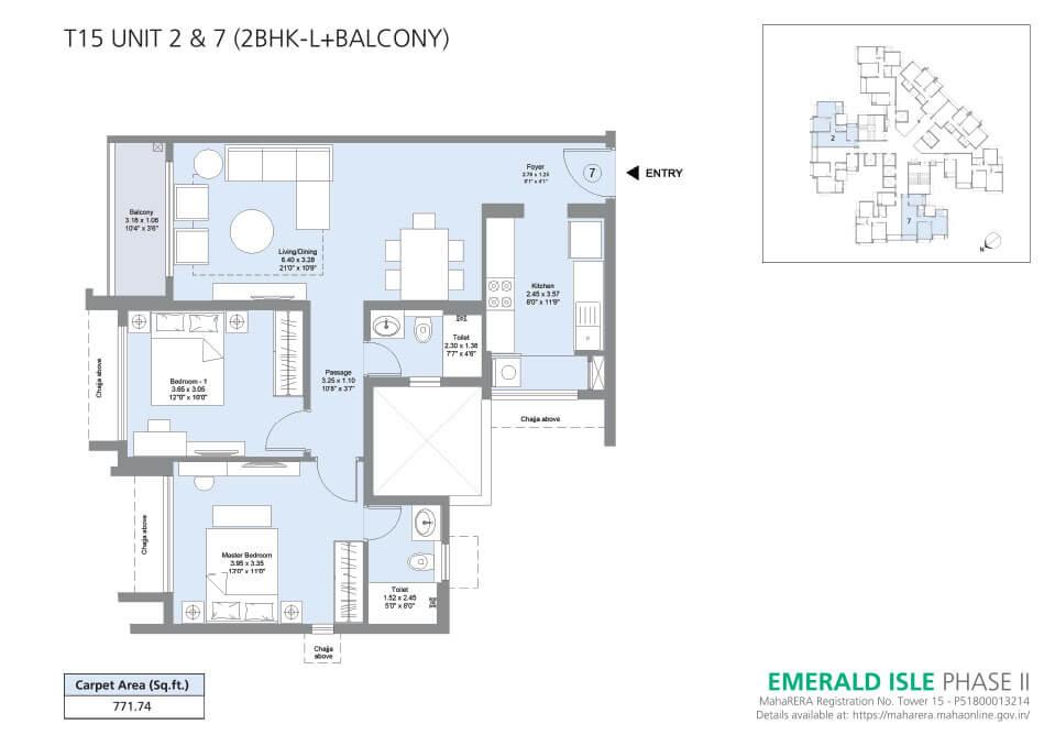 T15 Unit 2 & 7 (2BHK-L+Balcony) - Emerald Isle