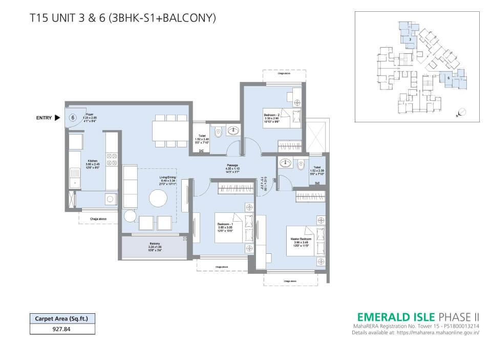 T15 Unit 3 & 6 (3BHK-S1+Balcony) - Emerald Isle