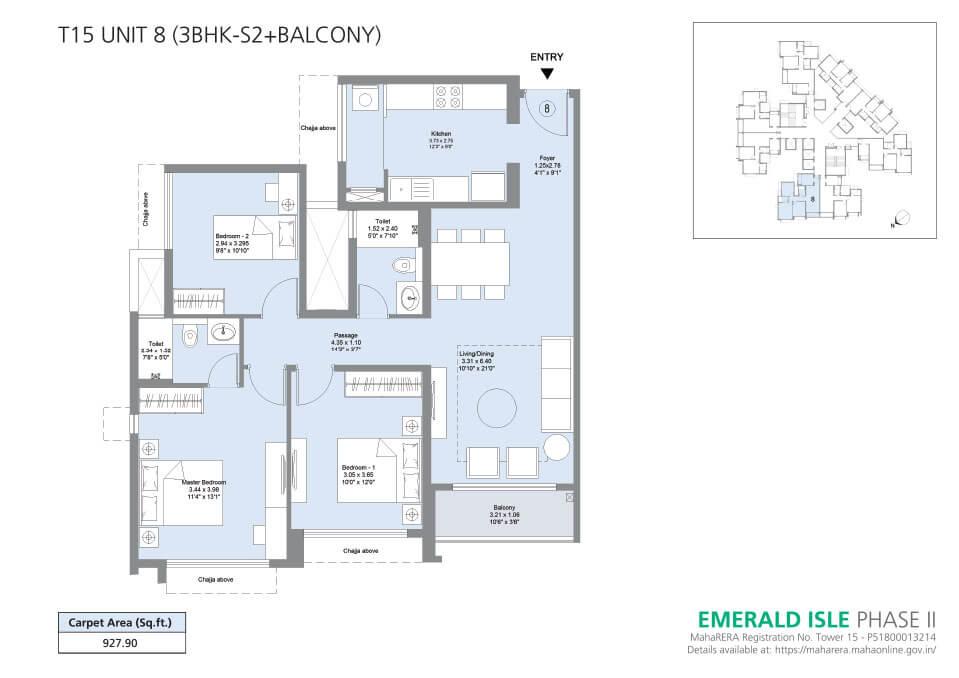 T15 Unit 8 (3BHK-S2+Balcony) - Emerald Isle