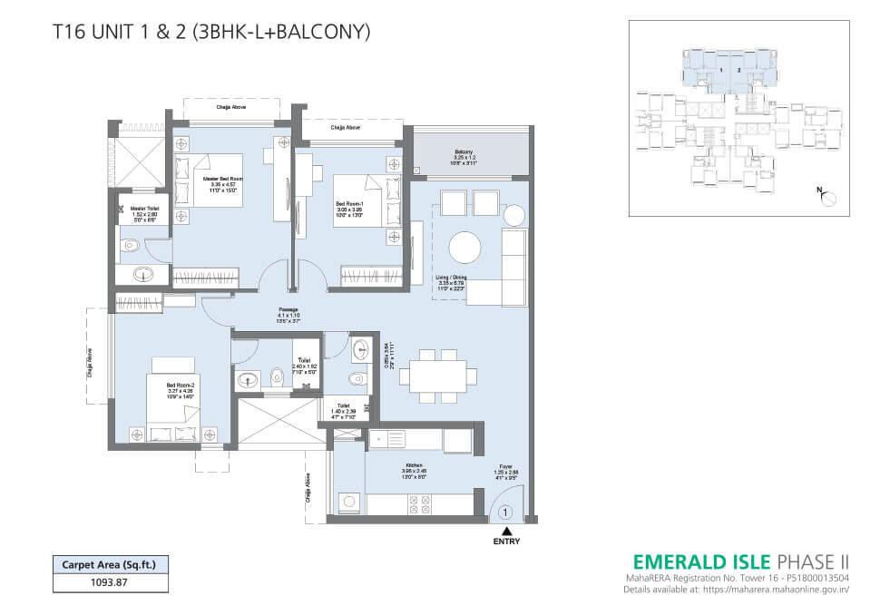 T16 Unit 1 & 2 (3BHK-L+Balcony) - Emerald Isle