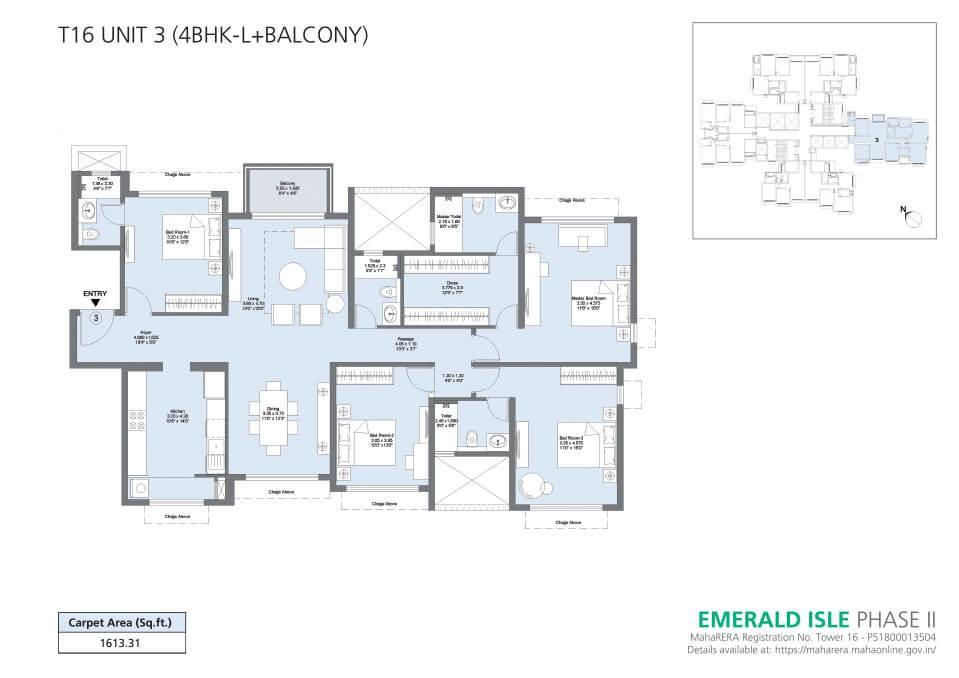 T16 Unit 3 (4BHK-L+Balcony) - Emerald Isle