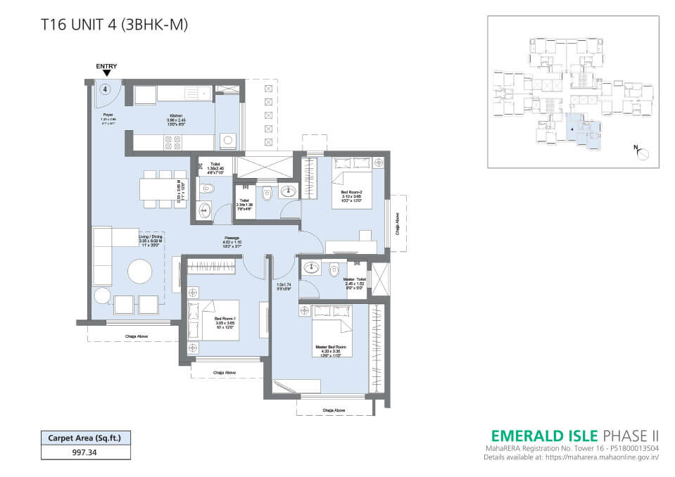 T16 Unit 4 (3BHK-M) - Emerald Isle