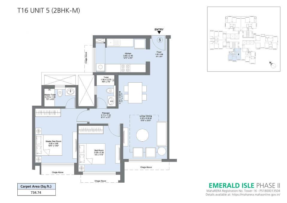 T16 Unit 5 (2BHK-M) - Emerald Isle