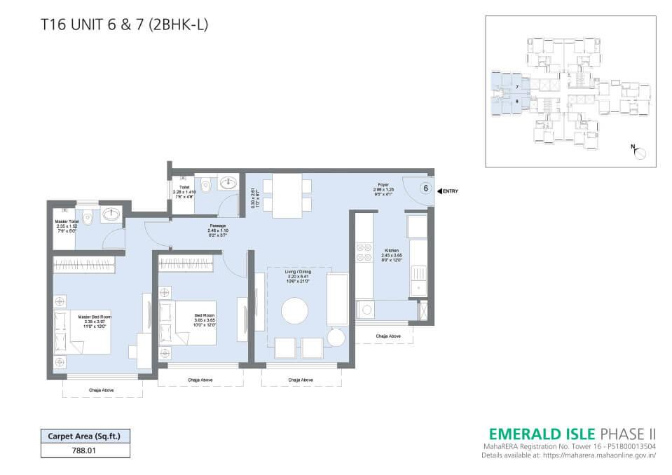 T16 Unit 6 & 7 (2BHK-L) - Emerald Isle