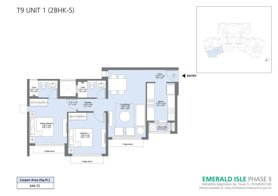 T9 Unit 1 (2BHK-S) - Emerald Isle