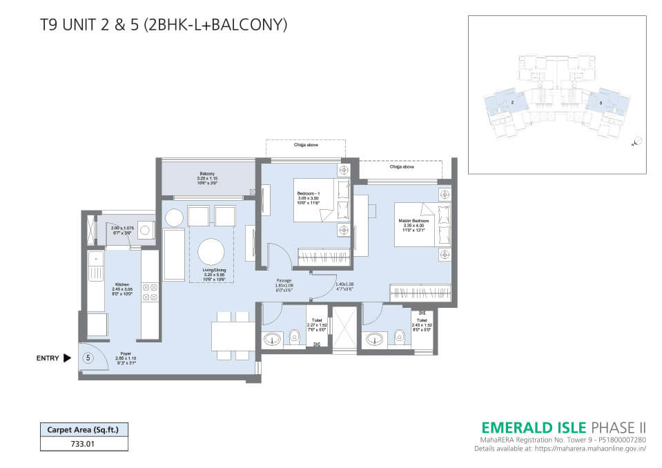 T9 Unit 2 & 5 (2BHK-L + Balcony) - Emerald Isle