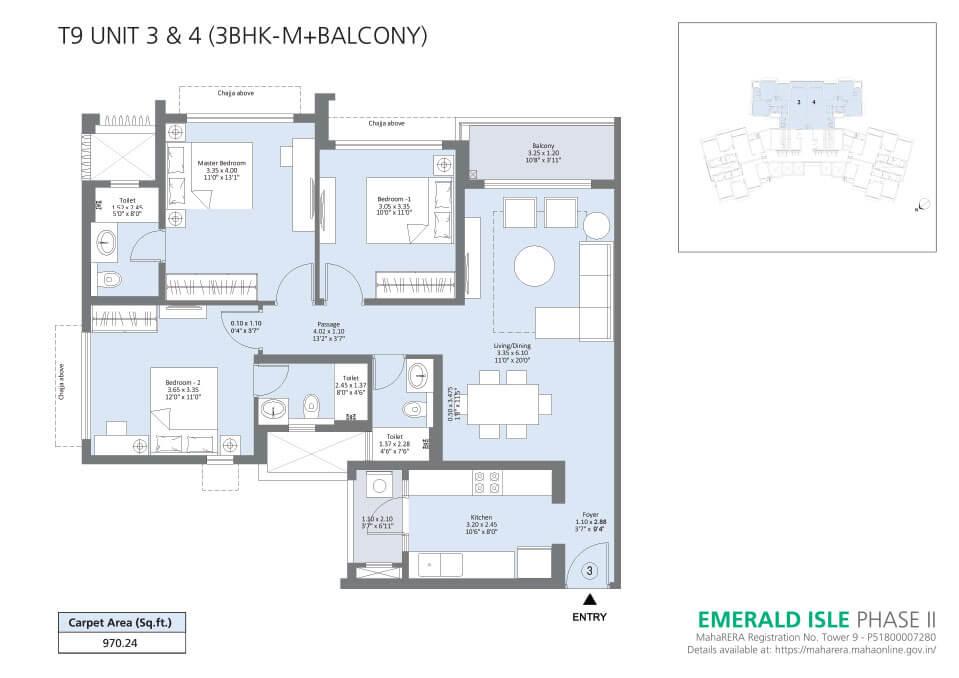 T9 Unit 3 & 4 (3BHK-M+Balcony) - Emerald Isle