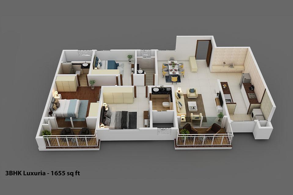 Isometric view 3BHK Luxuria in Hebbal, Bengaluru - Raintree Boulevard