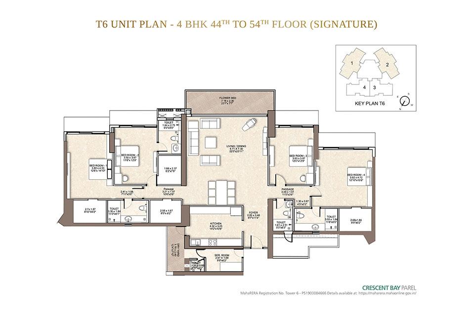 T6 4 BHK 44th Floor & Above in Parel, Mumbai - Crescent Bay