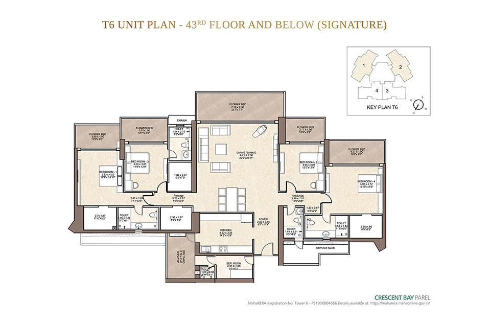 T6 4 BHK up to 43rd Floor in Parel, Mumbai - Crescent Bay